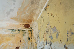 Wall and ceiling of abandoned house Royalty Free Stock Photos