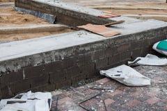 Wall cement block masonry. Royalty Free Stock Image