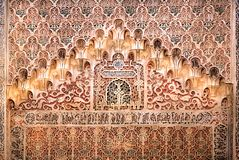 Wall with ceramic relief in historical arabic style, 14th century Madraza de Granada, Spain. Wall with ceramic relief in historical arabic style, the 14th royalty free stock photography