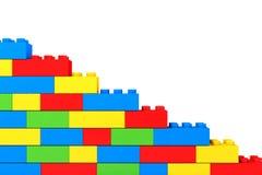 Wall from children plastic blocks Stock Photo