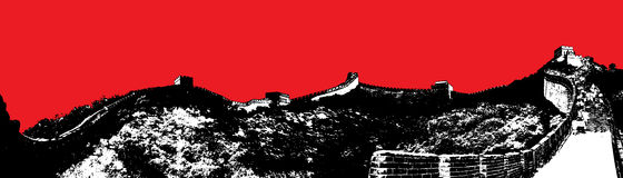 Wall of China Abstract. Black and white image of the Wall of China with red sky background stock illustration