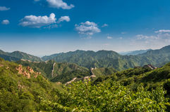 The wall in china. Wall in China green landscape Stock Photography