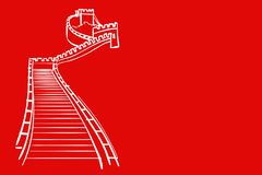 Wall of China. On red background.illustration royalty free illustration