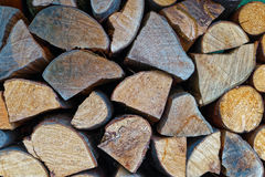 Wall of chopped fire wood Stock Photos