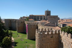 The wall and church. The famous wall and cathedral in Avila stock image