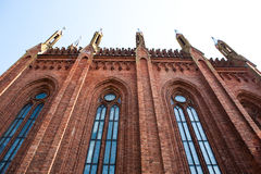 The wall of the church of red brick Royalty Free Stock Photography
