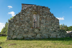 Wall of church ruin. Ruin of old 12th century, medieval stone church in Rytterne, Sweden Royalty Free Stock Photos