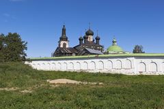 Wall and the Churches of Voskresensky Goritsky female monastery in the Vologda region stock images