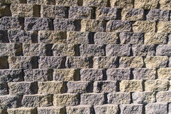 Wall of cinder block bricks form a pattern stock photo