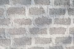 The wall of cinder blocks is painted white. Background texture stock photography