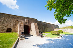 The wall of Citadelle de Dinant with arch door Stock Photography