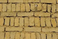 Wall of Clay Bricks Stock Image
