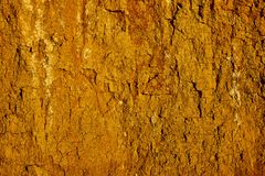 Texture of clay sand wall of yellow color with lots of cracks of different depth stock photo