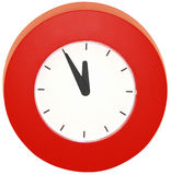 Wall clock. Red wall clock - five to midnight stock images