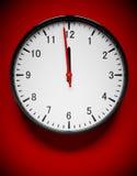 Wall clock. 3D redner of a wall clock on red stock illustration