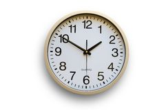 Wall Clock. On white background Royalty Free Stock Photography