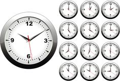 Wall clock. Vector illustration of wall clock with 12 hours Stock Images