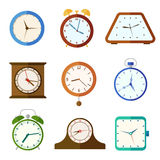 Wall clock and alarm clocks, time vector flat icons. Set of different clocks illustration Royalty Free Stock Photo
