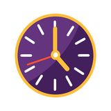 Wall Clock with Big and Small Arrows on Clockface. Wall clock with big and small arrows on purple clockface vector illustration isolated on white background Stock Images