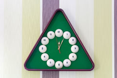 Wall clock in billiards style. Stock Photos