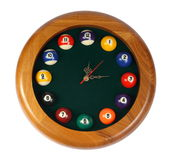 Wall clock, billiards on the white background Stock Photography