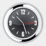 Wall Clock Black. Black Wall Clock Vector Drawing Royalty Free Illustration