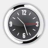 Wall Clock Black. Black Wall Clock Vector Drawing Stock Images