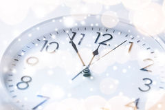 Wall clock. Business and time concept - wall clock over white stock photo