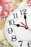 Wall clock and canadian dollars Stock Photo