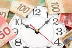 Wall clock and canadian dollars Royalty Free Stock Photo