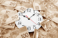 Wall clock and canadian dollars Stock Images
