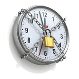 Wall clock with chain and padlock Stock Photos