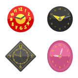 Wall clock circle sign with chronometer pointer collection and deadline stopwatch speed office alarm timer minute watch. Vector illustration icons set. Time royalty free illustration