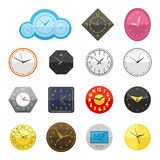 Wall clock circle sign with chronometer pointer collection and deadline stopwatch speed office alarm timer minute watch. Vector illustration icons set. Time Stock Images