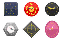 Wall clock circle sign with chronometer pointer collection and deadline stopwatch speed office alarm timer minute watch. Vector illustration icons set. Time vector illustration