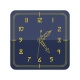 Wall clock circle sign with chronometer pointer tool and deadline stopwatch speed office alarm timer minute watch vector. Wall clock circle sign with chronometer stock illustration