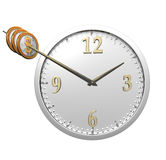 Wall clock with coins isolated on white Stock Photo