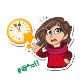Wall Clock and Cute little girl wondering cartoon character Royalty Free Stock Images