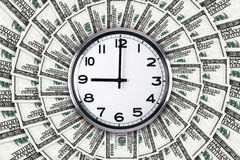 Wall Clock on Dollar Banknotes Royalty Free Stock Images