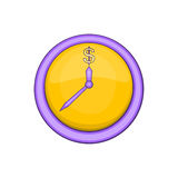 Wall clock with dollar symbol icon, cartoon style Stock Photography