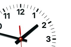 Wall Clock face with hour, minute and second hands stock illustration