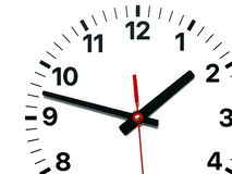 Wall Clock face with hour, minute and second hands. Wall clock face close-up, with black hour & minute hands, and black numbers on white background. Copy space stock illustration