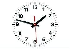 Wall Clock face with hour, minute and second hands royalty free illustration