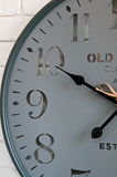 Wall clock face. A modern clock face on white wall stock image
