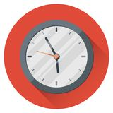 Wall Clock. 17:55. Five minutes to six. The end of the working day. On an orange background. Icon with highlights. Flat style. 10 eps royalty free illustration