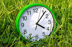 The wall clock is in the green grass Royalty Free Stock Photos