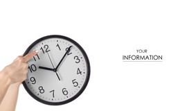 Wall clock in hand pattern royalty free stock photo