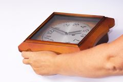 Wall clock in hand. When you are afraid to be late. Serious and ridiculous use. Joke.  Stock Photos