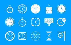 Wall clock icon blue set vector. Wall clock icon set. Simple set of wall clock vector icons for web design isolated on blue background Royalty Free Stock Image