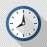 Wall clock icon in flat style on transparent background. Wall clock icon in flat style with long shadow on transparent background royalty free illustration
